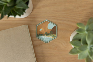 Escalante utah sticker on wood background