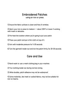 Embroidered patch instructions for use and care