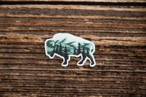 Bison shaped Landscape Sticker design with trees and mountains