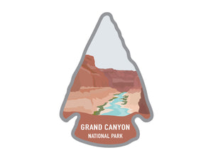 National park arrowhead shaped stickers of Grand Canyon national park in color