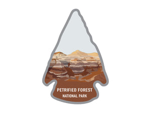National park arrowhead shaped stickers of Petrified Forest national park in color