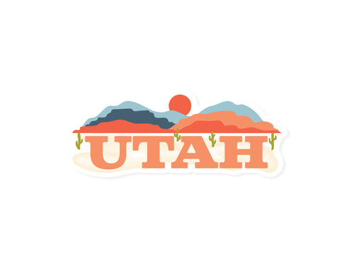 Orange and blue Wildtree Utah sticker graphic