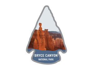 National park arrowhead shaped stickers of bryce canyon national park in color