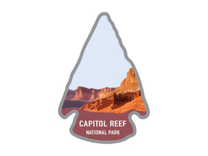 National park arrowhead shaped stickers of Zion national park in color