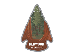 National park arrowhead shaped stickers of Redwood national park California