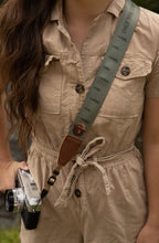 Load image into Gallery viewer, Wildtree Smokey Bear Camera Strap attached to film camera around women's shoulder