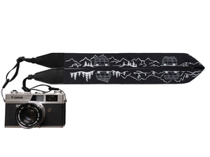 Wildtree Van life Camera strap featuring mountains, trees, cacti and Volkswagen Bus
