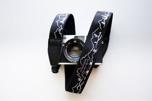 Wildtree Van life Camera strap featuring mountains, trees, cacti and VW Bus