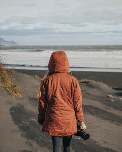 Women walking on Iceland beach holding DSLR with Wildtree Pinetree camera wrist strap attached