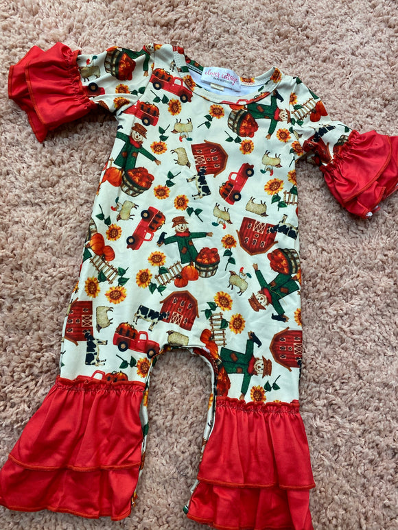 Fall Red Barn Baby Romper