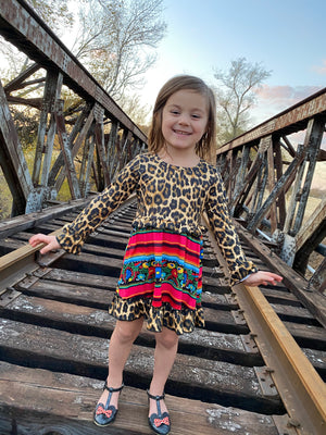 Serape Leopard Floral Girls Dress