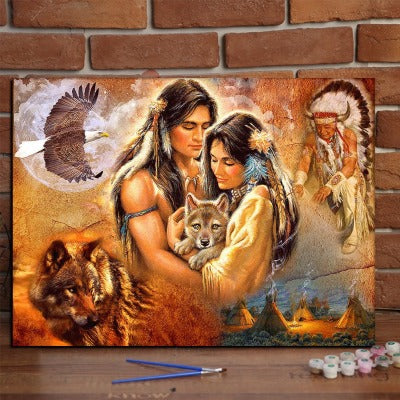 Aboriginal Indian Wolf Hawk 5D Diamond Paintings Embroidery Cross Stitch Home