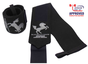 Inzer Black Beaty Wrist Wraps, sehr harte Handgelenksbandagen von Inzer Advance Designs