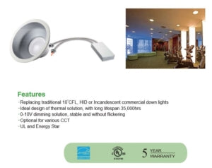 10″ 50W LED Architectural Downlight