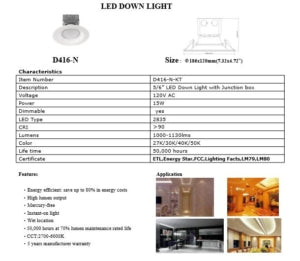 6″ 15W LED Can Light with Junction Box (120W Replacement -Dimmable)