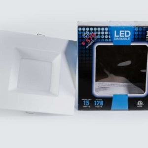 6″ 15W (Square Trim)LED Can Light with Junction Box (120W Replacement -Dimmable)