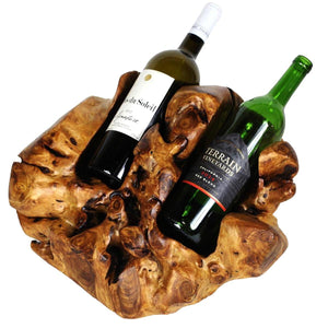 Wine Bottle Holder, Wood, Hand-Crafted, 2 Bottle - Floral Acres Greenhouse & Garden Centre