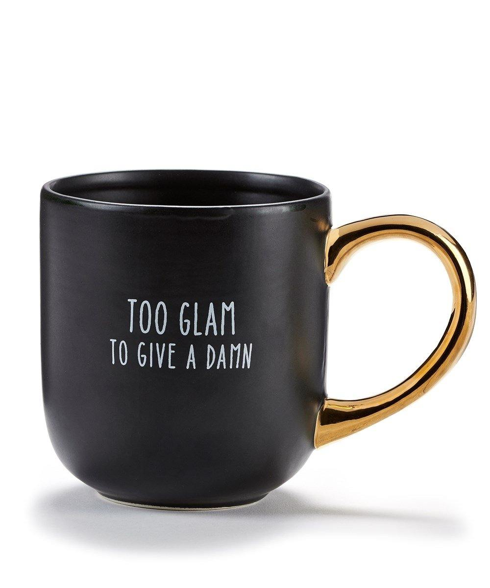 Ceramic Mug, Black, Gold Hdl, 16oz, Too Glam - Floral Acres Greenhouse & Garden Centre