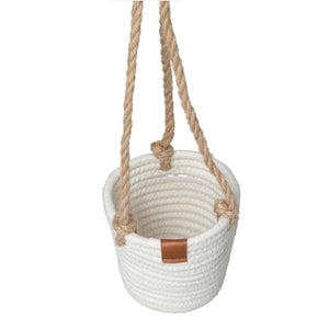 Planter, Cotton Rope, Hanging, White, Liner, Small - Floral Acres Greenhouse & Garden Centre