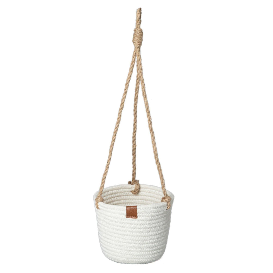 Planter, Cotton Rope, Hanging, White, Liner, Large - Floral Acres Greenhouse & Garden Centre