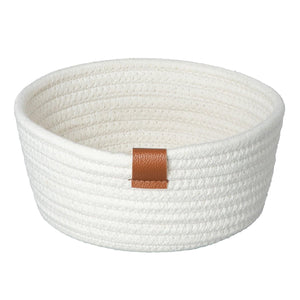 Basket, Rope, Cotton, White, No Liner, 8in - Floral Acres Greenhouse & Garden Centre