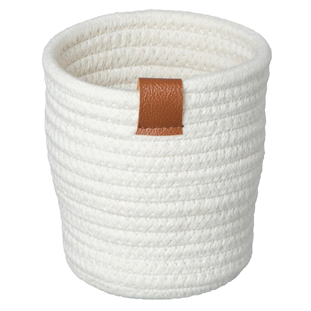 Planter, Cotton Rope, White, w/ Liner, Small - Floral Acres Greenhouse & Garden Centre
