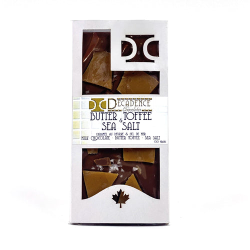 Milk Chocolate Bar, Butter Toffee & Sea Salt, 100g - Floral Acres Greenhouse & Garden Centre
