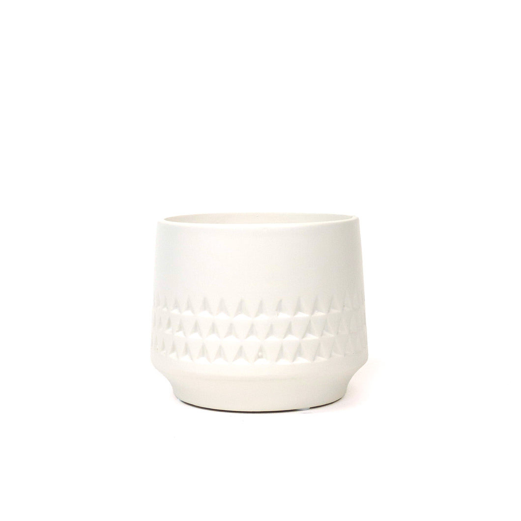 Pot, 4in, Ceramic, Dolomite, Matte White