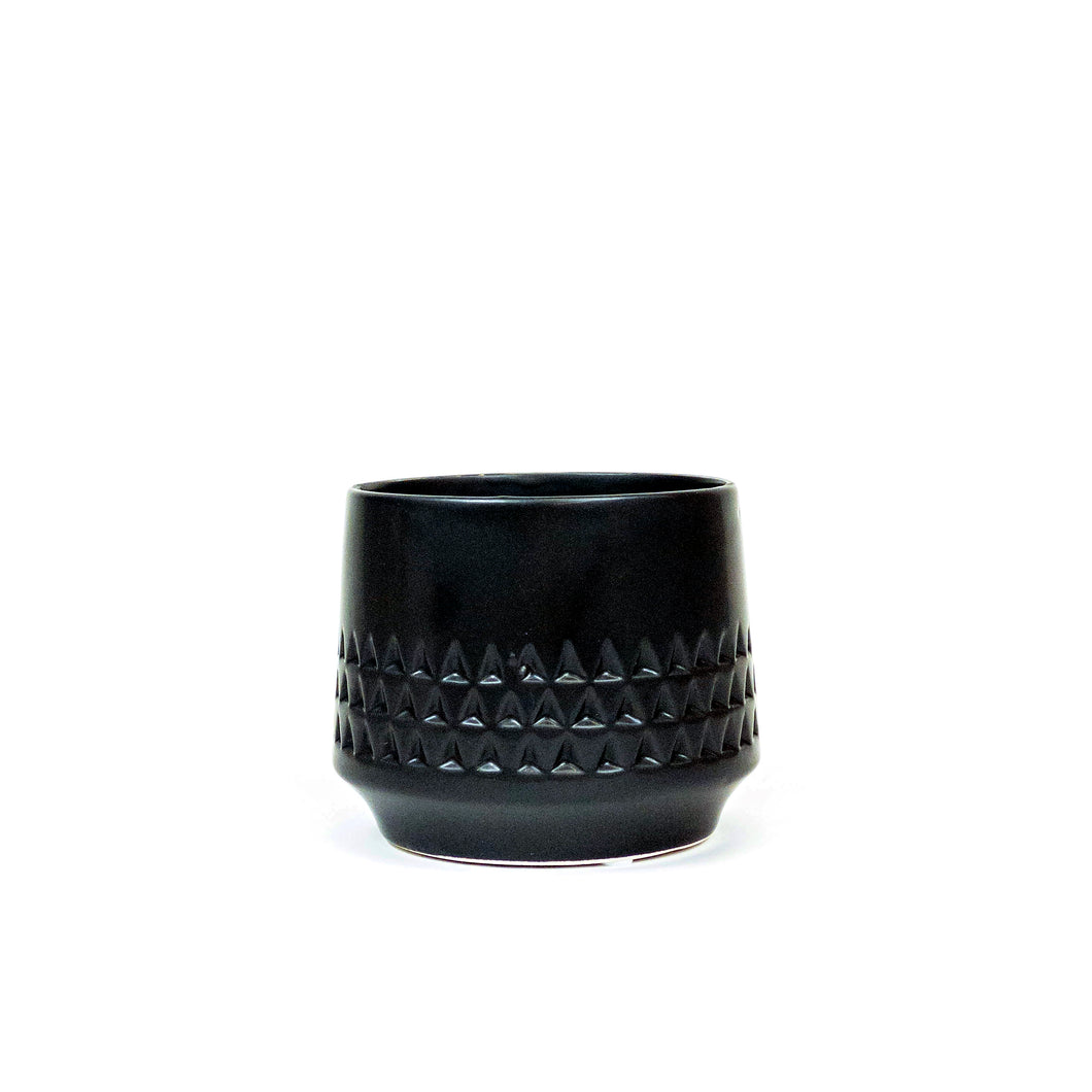 Pot, 4in, Ceramic, Dolomite, Matte Black