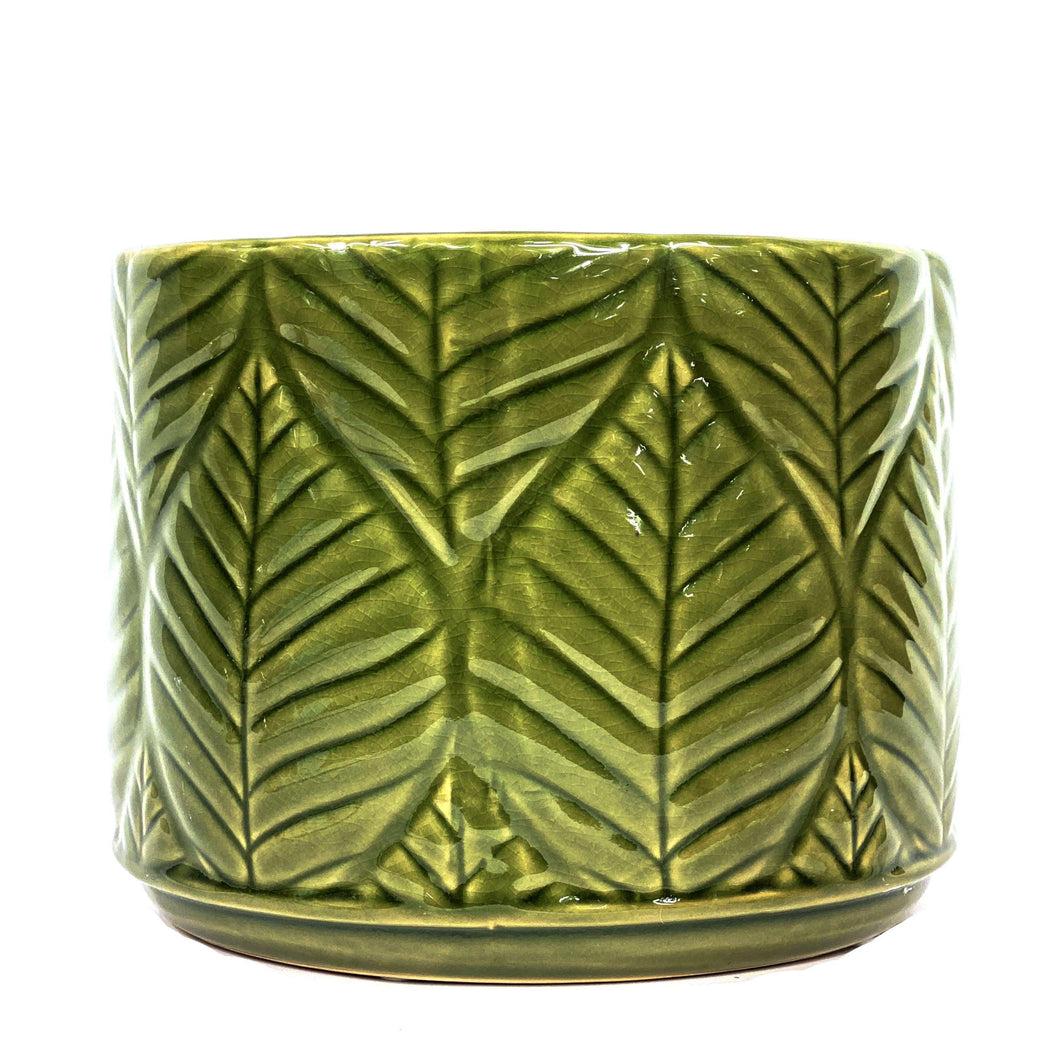 Pot, 6in, Stoneware, Green Leaves Crackle Glazed - Floral Acres Greenhouse & Garden Centre