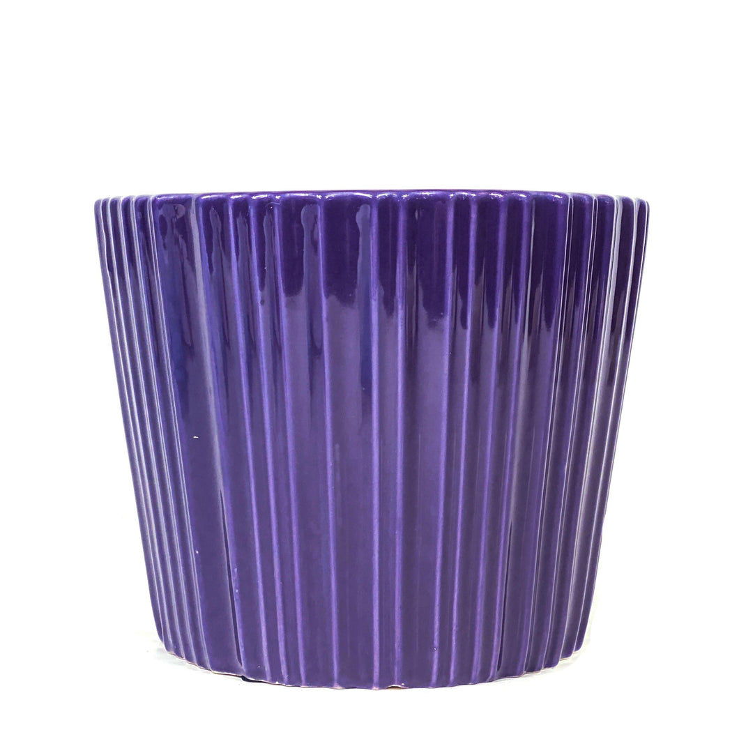 Pot, 6in, Ceramic, Dolomite, Glazed Ribbed Purple - Floral Acres Greenhouse & Garden Centre
