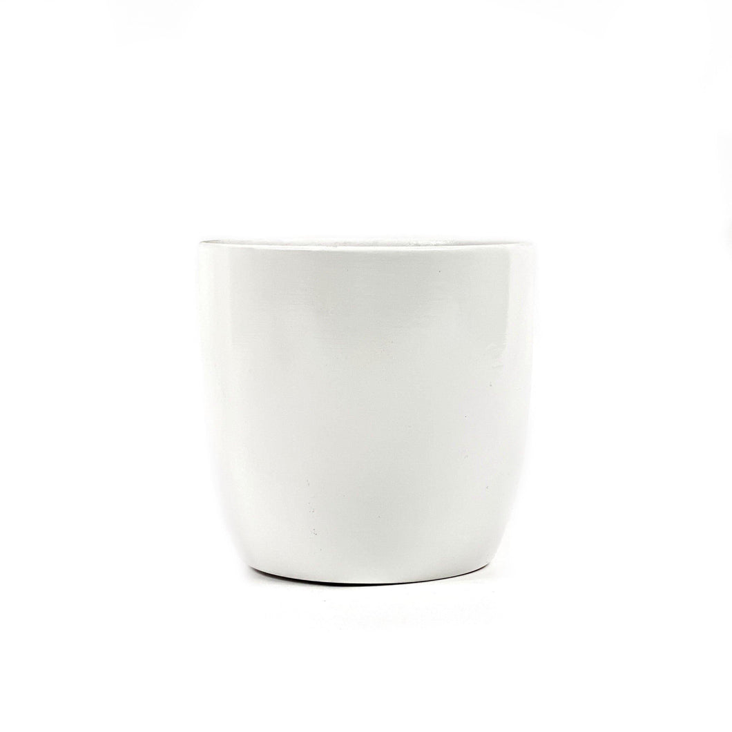 Pot, 4in, Ceramic, Dolomite, White Painted