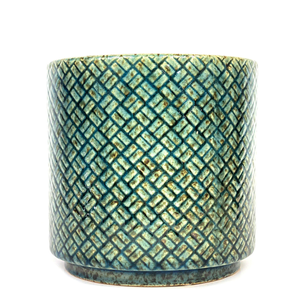 Pot, 6in, Ceramic, Lexington Blue Glazed