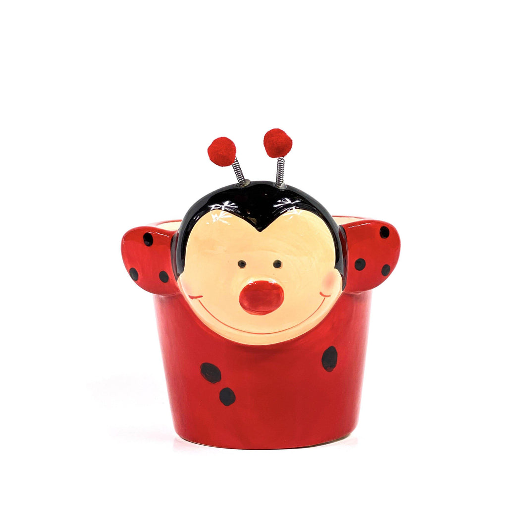 Pot, 4in, Ceramic, Dolomite, Red & Black Lady Bug