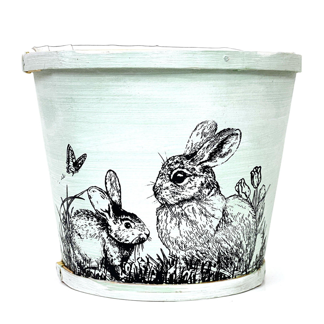 Pot, 6in, Wood, Bunny Design, w Liner