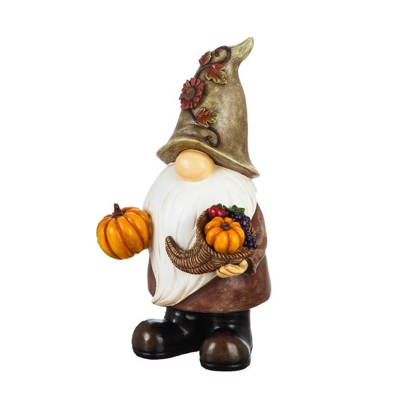 Garden Gnome Harvest Statue, 16.5in