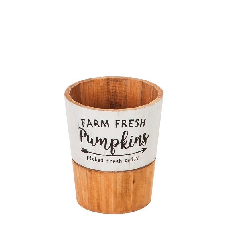 Wooden Planter, 'Farm Fresh Pumpkins', Small