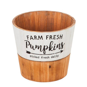 Wooden Planter, 'Farm Fresh Pumpkins', Large