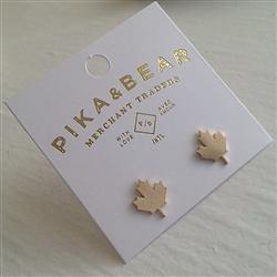 Earrings, Stud, 1867 Maple Leaf, Gold - Floral Acres Greenhouse & Garden Centre
