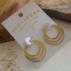 Earrings, Hoops, Zaha Triple Loop, Gold - Floral Acres Greenhouse & Garden Centre