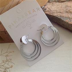 Earrings, Hoops, Zaha Triple Loop, Silver - Floral Acres Greenhouse & Garden Centre