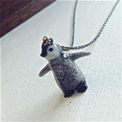 Necklace, Samantha Porcelain Penguin Chick Pendant