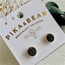 Earrings, Stud, Zella Gold Druzy, Jet Black - Floral Acres Greenhouse & Garden Centre