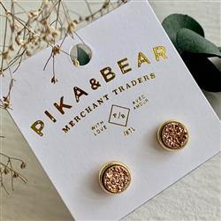 Earrings, Stud, Zella Gold Druzy, Rose Gold - Floral Acres Greenhouse & Garden Centre