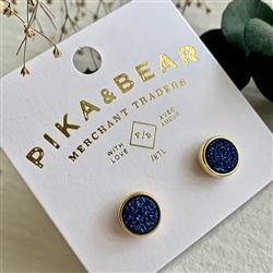 Earrings, Stud, Zella Gold Druzy, Starry Sky - Floral Acres Greenhouse & Garden Centre