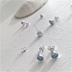 Earrings, Stud, Solstice SS Swarovski, Aquamarine - Floral Acres Greenhouse & Garden Centre