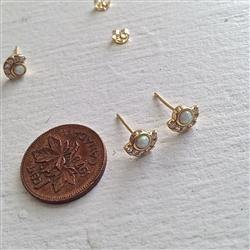 Earrings, Stud, Lasa Opal and Rhinestone in Gold - Floral Acres Greenhouse & Garden Centre
