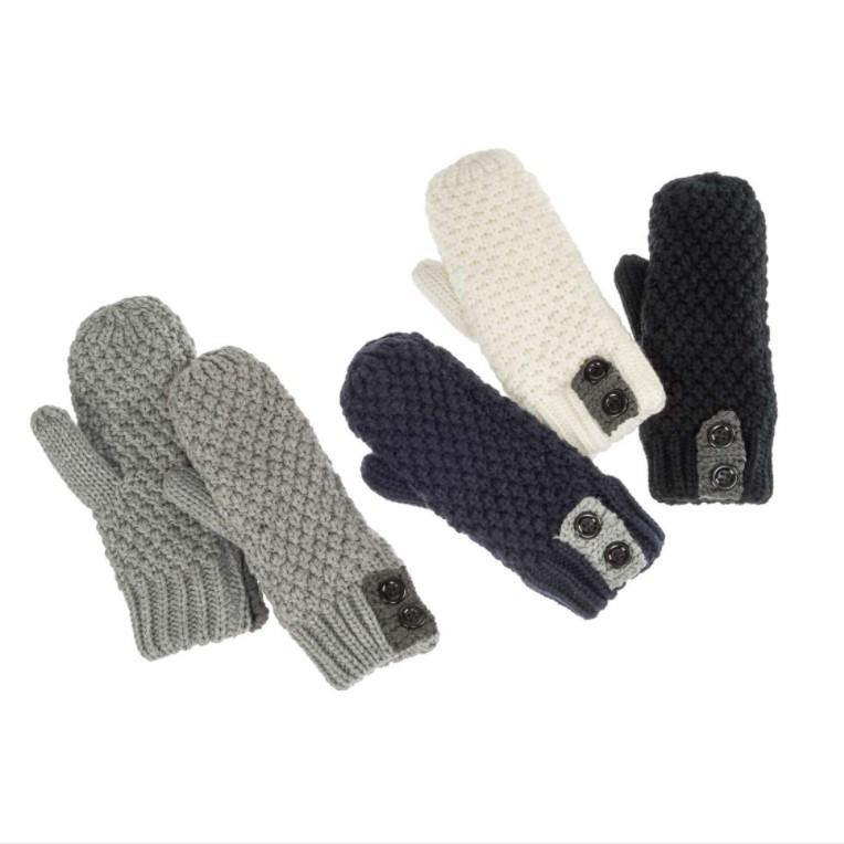 Mittens with 2 Button Accent, Asst. Colours - Floral Acres Greenhouse & Garden Centre