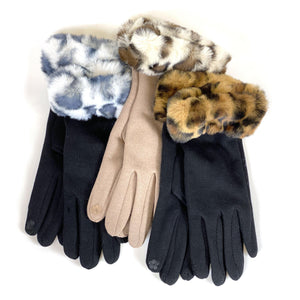 Gloves with Animal Print Cuffs, 3 Asst. Styles - Floral Acres Greenhouse & Garden Centre