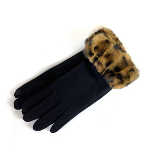 Gloves with Animal Print Cuffs, 3 Asst. Styles